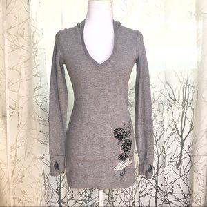 Gray fearless Roses hoodie dress